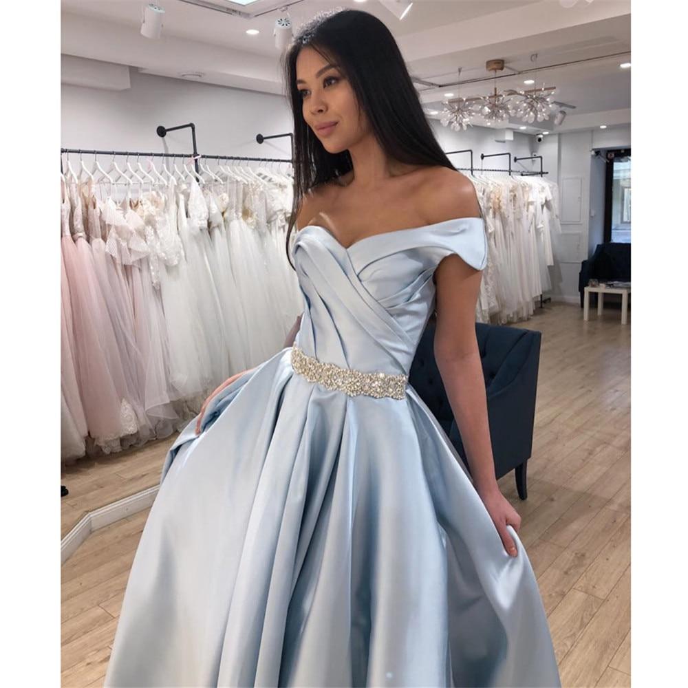 YUNUO Beading Robe De Soiree Silver Satin Formal Evening Dresses 2021 Off Shoulder Prom Party Gown Long выпускные платья