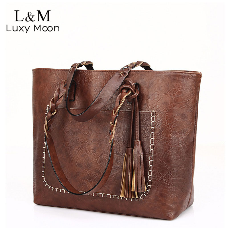 Vintage Handbag Women Brown Leather Shoulder Bag Ladies Retro Tote Large PU Handbags Bolso 2019 Fashion Big Black Bags XA540D
