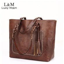 Vintage Handbag Women Brown Leather Shoulder Bag Ladies Retr