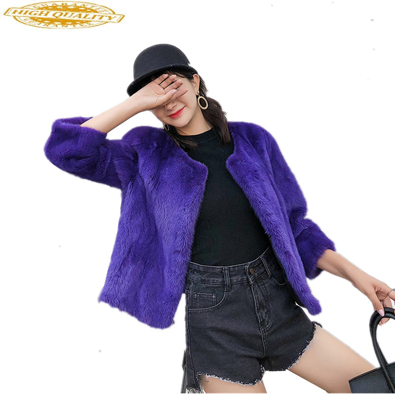 Mink Coat Real Fur Coat Female 2020 Short Winter Jacket Women O-neck Natural Fur Coats Full Pelt Mink Outerwear WYQ1718