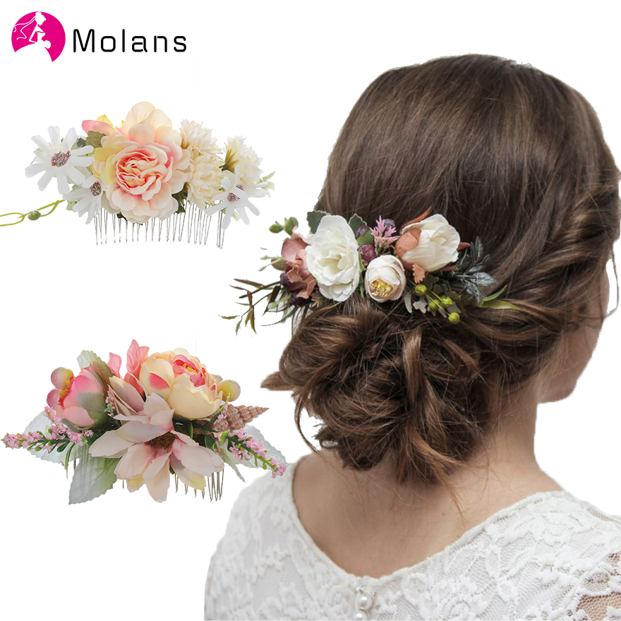 Molans Boho Bridal Hair Combs Rustic Wedding Floral Women Stimulation Flower Hairpins Brides Hair Accessories Greenery Combs
