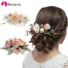 Molans Boho peinetas para novia de la boda Las Mujeres Floral estimulación horquillas de flor de novia accesorios para el cabello verde peines