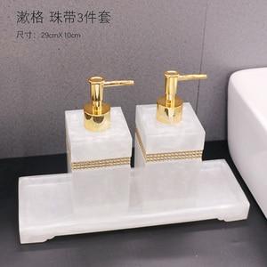 Image 4 - Luxury Nordic Rhinestone Resin Bathroom Accessories Set Tray Emulsion Bottle Hand Sanitizer Soap Dispenser  Toothbrush Holder