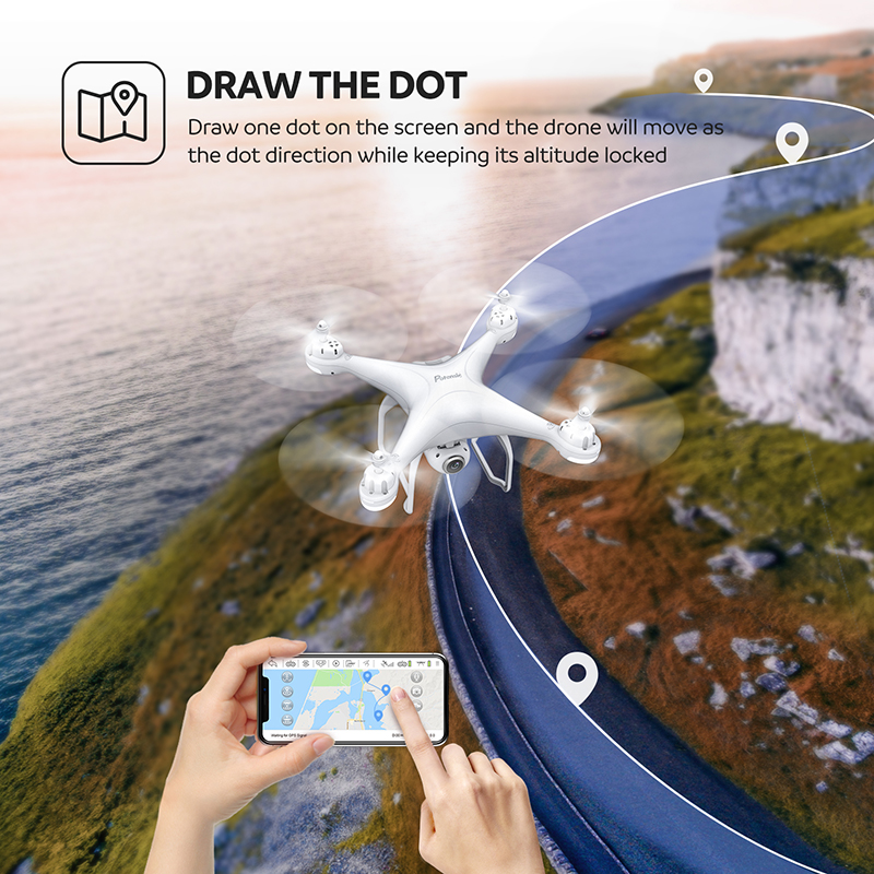 Potensic T25 GPS Drone FPV 1080p HD Camera Profissional Wifi RC Drones Selfie Follow Me Quadcopter GPS Glonass Quadrocopter (White)