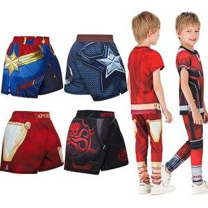 Рашгард для детей ММА компрессионные боксерские майки + штаны для детей Bjj Рашгард Муай Тай шорты брюки для подростков ММА спортивная одежда