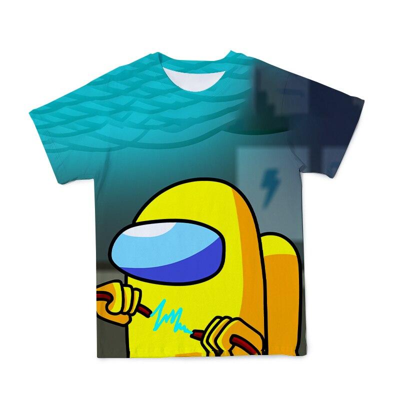 Новинка 2021, футболка для игр, футболка с коротким рукавом с мультипликационным рисунком среди As для детей, топы для мальчиков, графическая о...