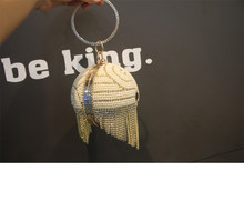 2020 New Bag Round Douyin Small Fragrance Crossbody Pearl Female Crystal Party Dress Bag Gold Silver(China)