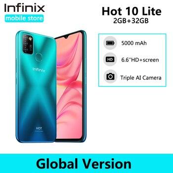 Перейти на Алиэкспресс и купить Глобальная версия Infinix Hot 10 Lite 2 ГБ 32 ГБ смартфон 6,6 дюйма HD 1600*720P аккумулятор 5000 мАч Helio A20 камера 13 МП