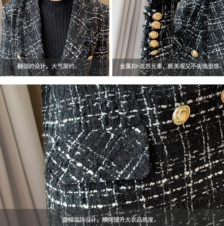 2020 Tweed Women's Black Long Sleeve Korea Style Jackets Women Women's Clothings Women's Coat/Jacket