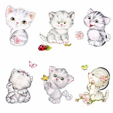 Cartoon Cute Cat Switch Toliet Sticker Wall Stickers Butterfly Kids Room Home Decoration Decorative