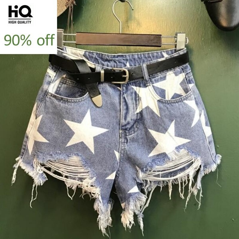 Pentagram Printing Blue Denim Shorts Lady Casual Ripped Hole Women Wide Leg Tassel High Waist Jeans Short Female Harajuku Shorts