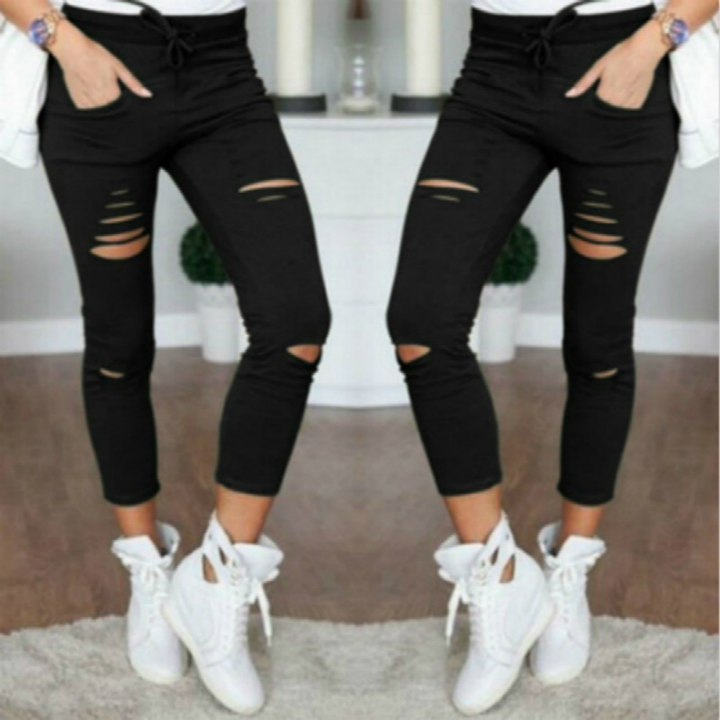 Ripped Jeans Trousers Pencil-Pants Leggings Women Stretch Big-Size