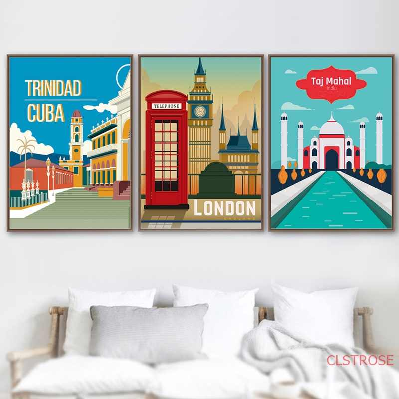 Retro London City Taj Mahal Travel Wall Art ภาพวาดผ้าใบ Nordic โปสเตอร์และพิมพ์ภาพผนังสำหรับห้องนั่งเล่น decor