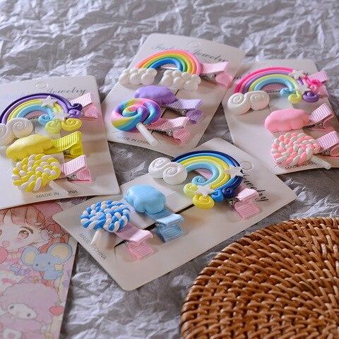 3pc/set Cute Girl Cloud Lollipop Rainbow Hairpins Cartoon Bobby Pin Hair Clips for Girls Children Headband Kids Accessories Islamabad