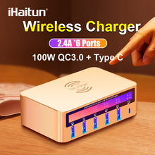 iHaitun 100W Wireless PD Type C QC3.0 USB Charger LED Display Fast Dock Station Travel Quick Charge 3.0 QC 4.0 For iPhone 11 Pro