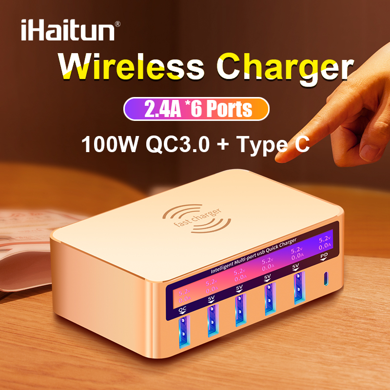 iHaitun 100W Wireless PD Type C <font><b>QC3.0</b></font> <font><b>USB</b></font> <font><b>Charger</b></font> LED Display Fast Dock Station Travel Quick Charge 3.0 QC 4.0 For iPhone 11 Pro image