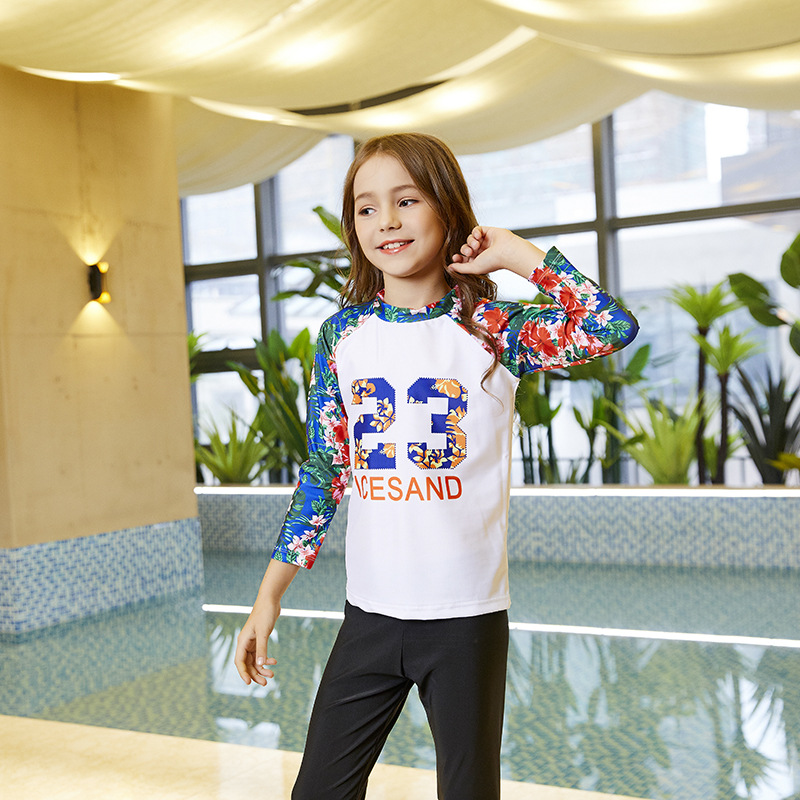 Children Sun-resistant Two-piece Swimsuits Korean-style GIRL'S Middle And Large Small CHILDREN'S Baby Long Sleeve Pants Students