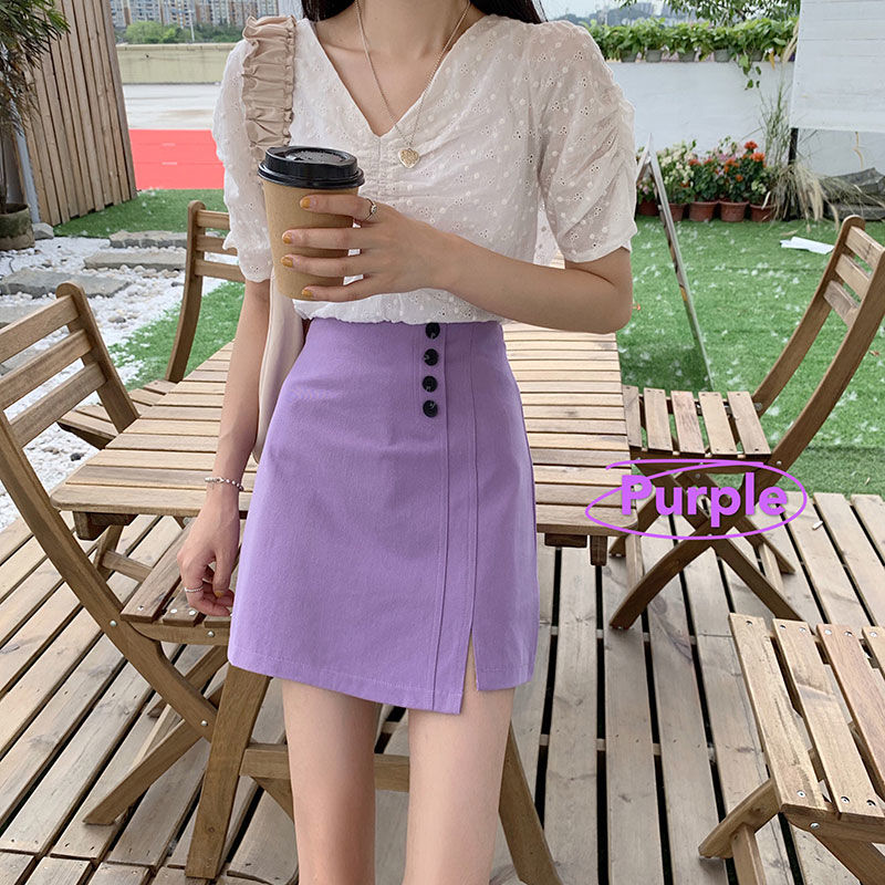 Autumn Women Skirt Sexy Mini Skirt With Button A-line Package Hip Purple Black Pu leather Bodycon Skirts Women Clothing image