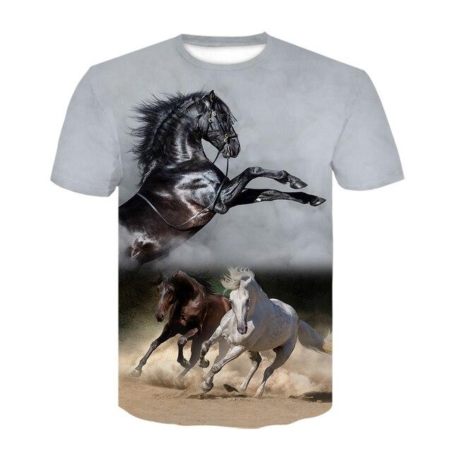 Summer New O-neck Wearing A flower Headband Horse T-Shirt 3D Fashion T Shirt Animal Clothes Men Women Large Size Tshirt Dropship 1