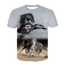 Camiseta con cuello redondo para hombre y mujer, prenda de vestir, con diadema de flores y caballo, en 3D, A la moda, ropa de Animal, de talla grande, novedad de verano