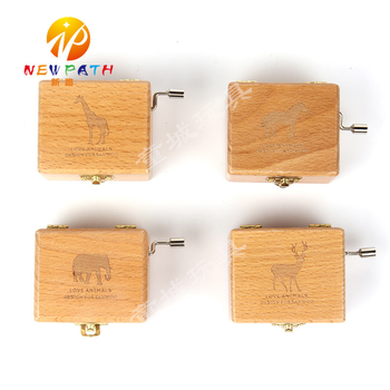 Wooden pure music box creative new wooden music box unique gift mini wooden hand gift music box