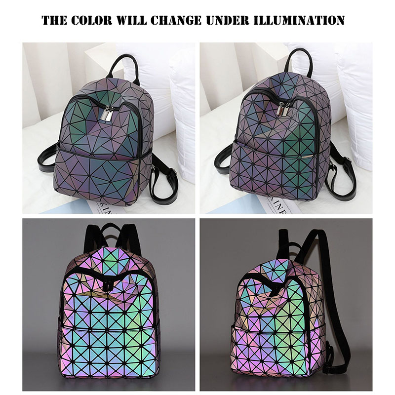 Luminous Backpack Women Reflective Stripe Backpacks Female Geometric Backpack Girls Travel Bagpack Lady Backpack School JC12102