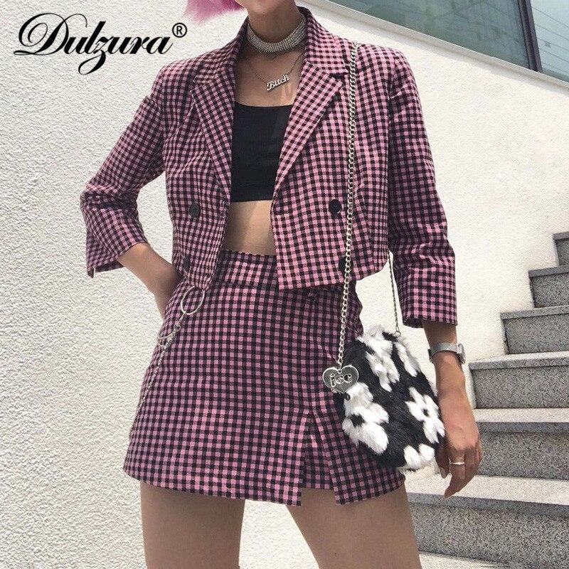 Dulzura 2019 Autumn Winter Women Plaid Two Piece Set Mini Skirt Casual Blazer Chain Elegant Office Festival Clothes Co Ord OL