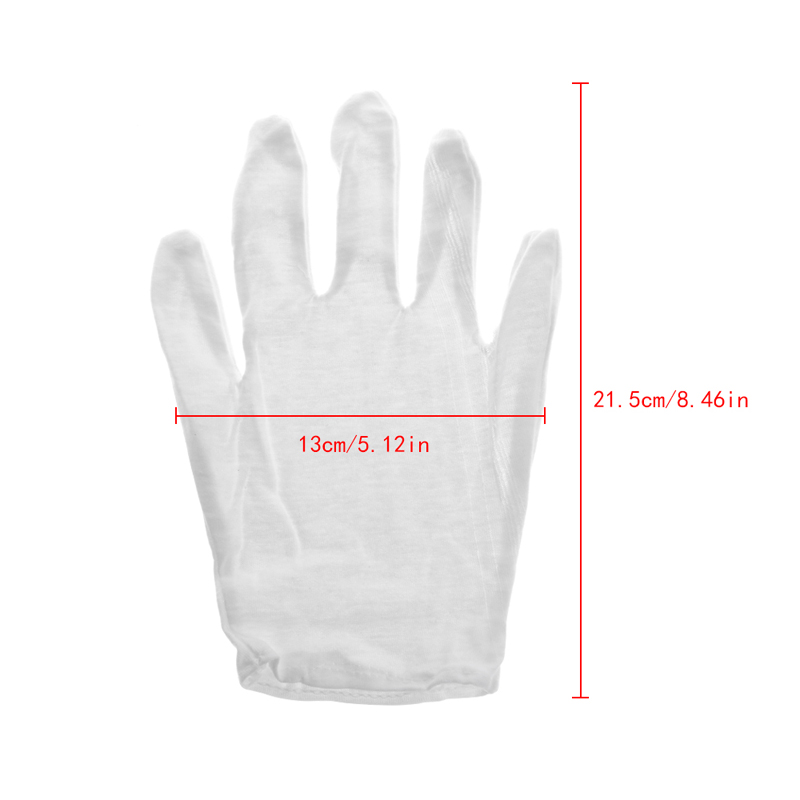 Drop Ship 1 Pair White Cotton Blend Gloves For Inspection Work Coin Jewelry Lightweight