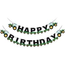 טרקטור יום הולדת באנר תליית באנרים קישוטי גרלנד גבתון תליון לילדים יום הולדת מפלגת טובה ספקי קישוטים