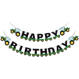Image 1 - Tractor Birthday Banner Hanging Banners Ornaments Garland Bunting Pendant For Kids Birthday Party Favors Supplies Decorations