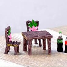 1 компл. Стол стул смолы ремесло микро пейзаж DIY Материал орнамент Сказочный Сад, миниатюра бонсай для террариума украшения CB4151/10