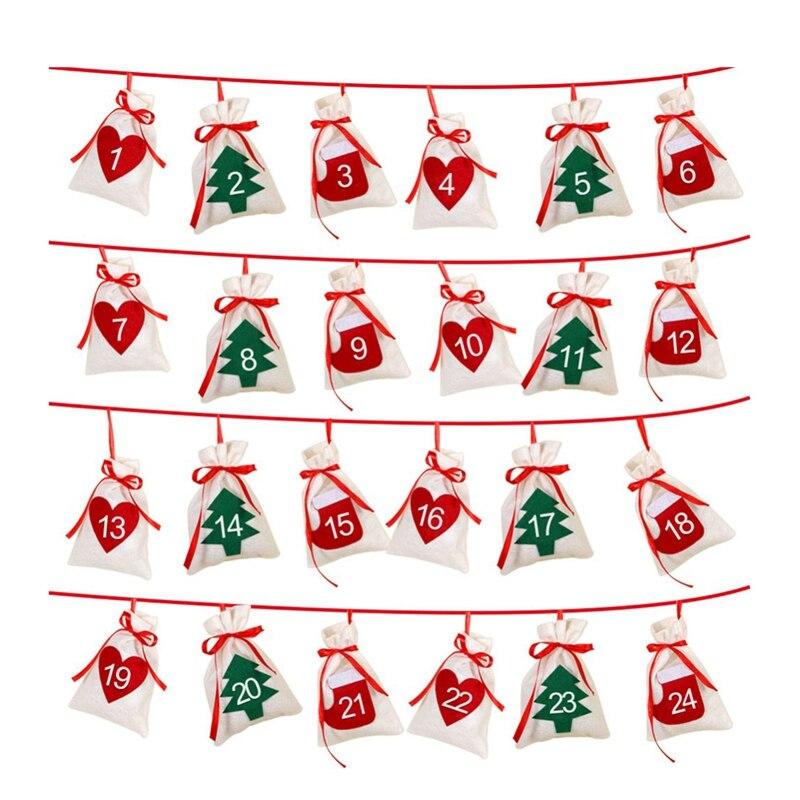 Algodón Navidad Adviento calendario guirnalda 24 Uds 11x16cm colgante Adviento calendario bolsas de regalo Año Nuevo 2019 calendario familiar