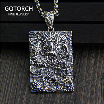 Pendant Necklace Dragon 100% Real 925 Sterling Silver Vintage Cool Fashion Amulets And Talismans Men Jewelry Boeddha