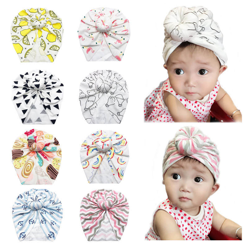 Baby Turban Flamingo Cow Printed Newborn Hats Bows Girl Boys Caps Infant Hair Accessories