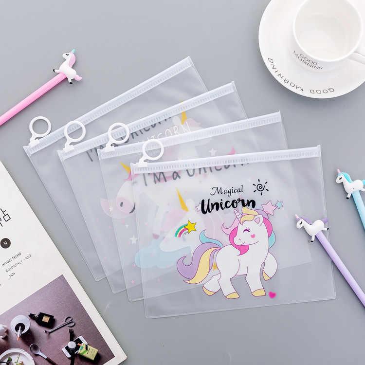 1 adet şeffaf desen kalem kutusu kaktüs Unicorn leopar ofis öğrenci kalem kutuları okul açar malzemeleri kalem kutusu