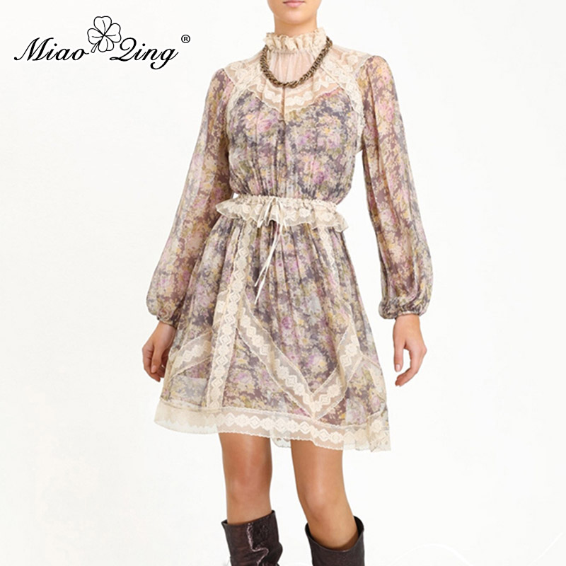 MIAOQING Vintage Lace Patchwork vestido con mangas puff Ruffle cuello alta cintura Vestidos Mujer 2019 otoño moda nuevo