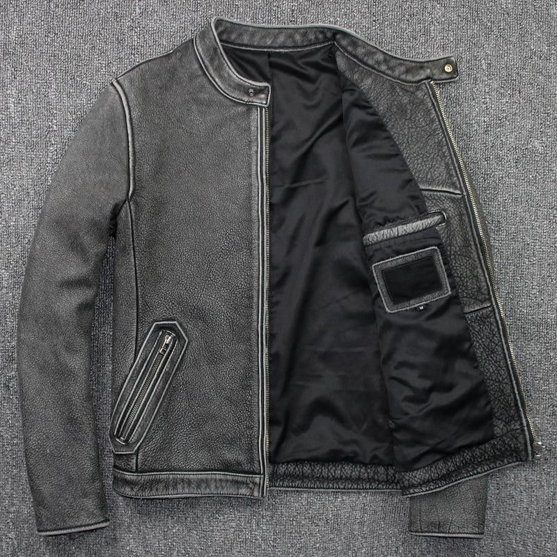 H1738883ae98349248d5f16a4a96e35ffd Tcyeek Winter Autumn Genuine Leather Jacket Men Streetweaar Real Sheepskin Coat Man Moto Biker Vintage Cow Leather Jackets 805