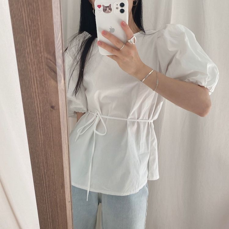 H17388b8e4d914b4e9021e7e44827adfeB - Summer O-Neck Short Puff Sleeves Cotton Lace-Up Solid Blouse