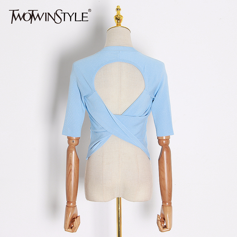 TWOTWINSTYLE Elegant Knitting Women T Shirt O Neck Half Sleeve Tunic Slim Backless T-shirt Female Fashion Clothing 2020 Spring