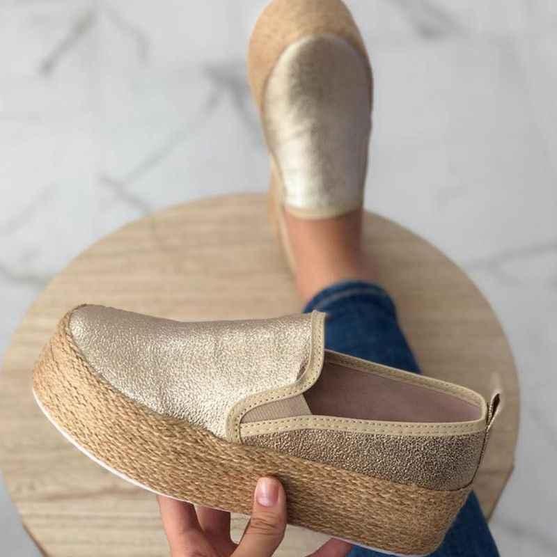 Jodimitty Mùa Xuân Đế Phẳng Giày Nền Tảng Cho Chân Trên Da Phẳng Da Lộn Nữ Cho Nữ Mộc Mạch Trà Giày Dây Leo