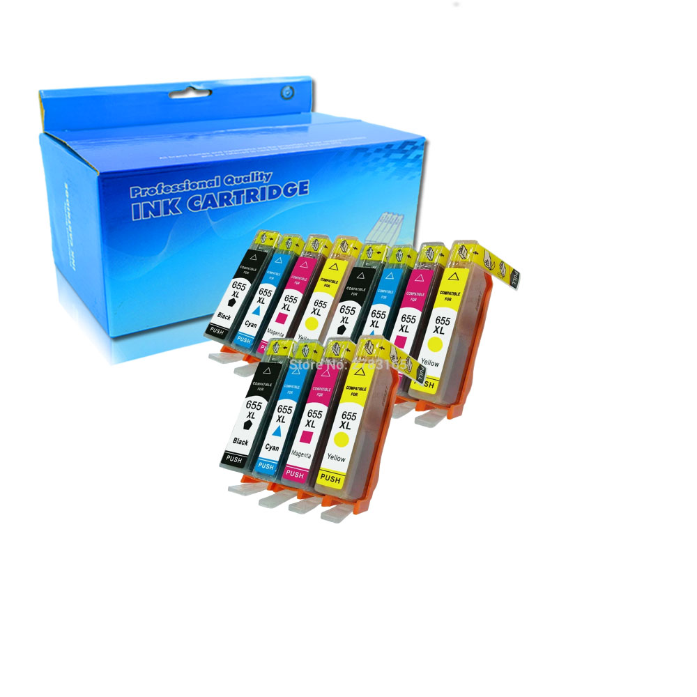 12Pack compatible printer ink cartridges for hp 655 ink cartridge for hp Deskjet Ink Advantage 3525 4615 4625 5525 6520 6525 ink image