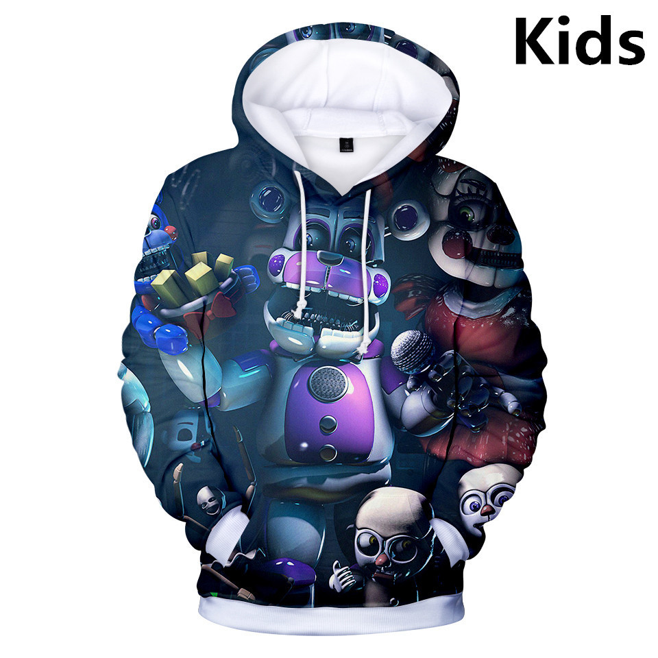 Boys Girls Kids Five Nights at Freddy 3D Printing Hoodie Sweatshirt Pullover