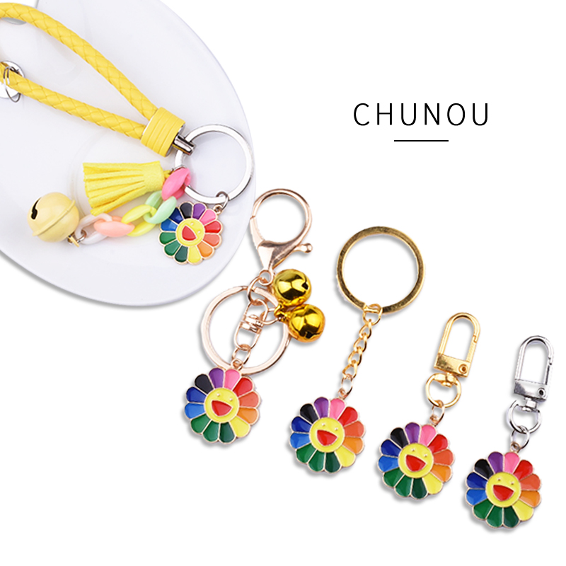 KPOP Keychain E-girl Harajuku Sun Flower Sunflower Colorful Petals Smiley Can Be Rotated Pendant Gold-Color Keyring Accesories