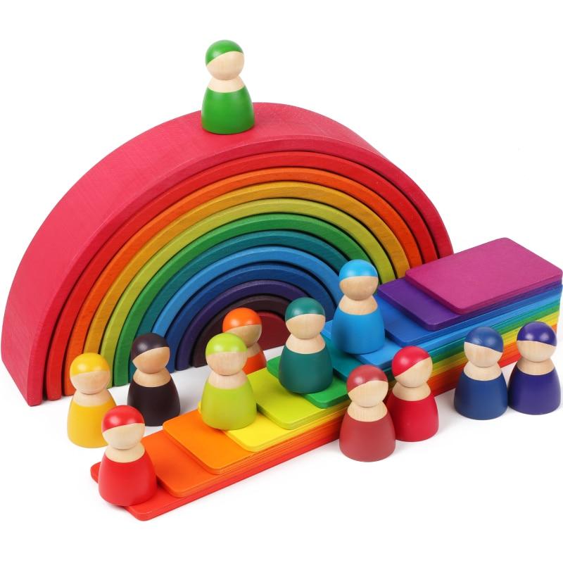 Детские радужные блоки, игрушки «сделай сам», большие креативные радужные строительные блоки, деревянные игрушки для детей, развивающая де...