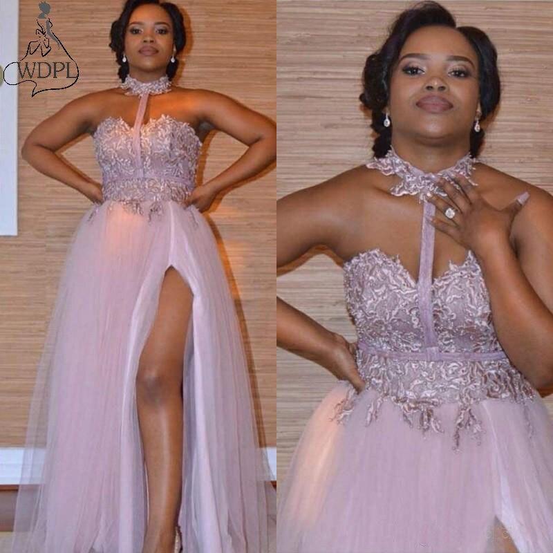 Dusty Pink Halter Prom Jurken Sweetheart Kant Applicaties Side Split Avondjurken Afrikaanse Vestidos Goedkope Bruidsmeisje Jurk