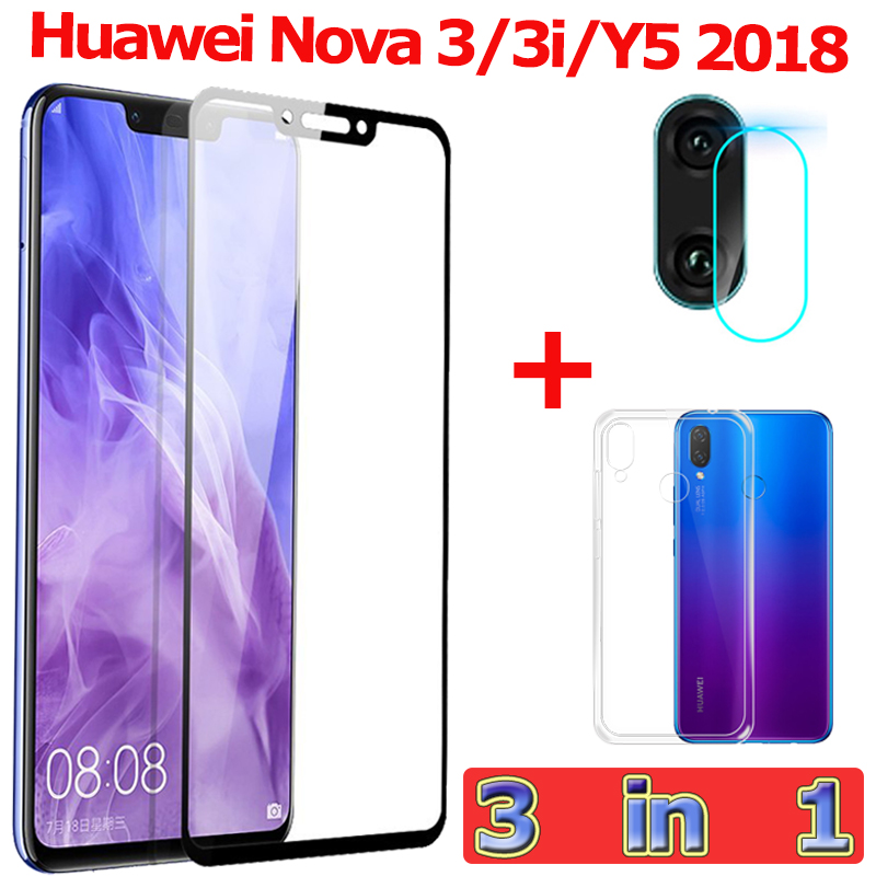 3-in-1 Tempered Glass for Huawei Nova 3i Y5 2018 Camera 3 i Screen Protector Film