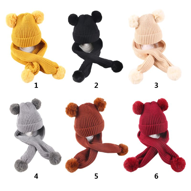 Children Winter Soft Scarf Hat Set Knitted Solid Color With 2 Balls Kids Boys Girl Outdoor Casual Autumn Warm Shawl Cap 6 Styles