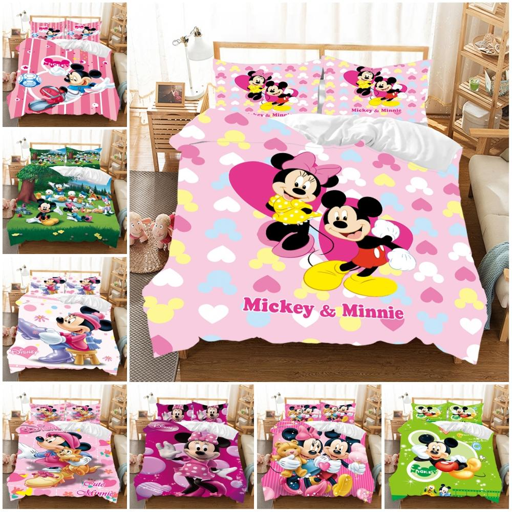 3D Printed Pink Minnie Mickey Mouse Bedding Set Duvet Cover Pillowcases Bedlinen Comforter Cover for Children Twin Full Queen