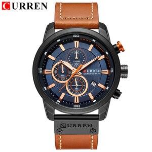 Image 3 - CURREN montre de sport analogique en cuir pour homme, de luxe, horloge à Quartz, de marque, style militaire, 8291