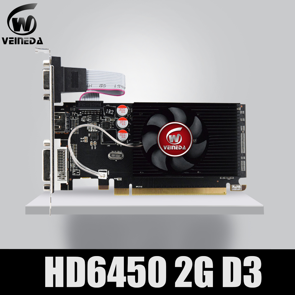 Original GPU Veineda Graphics Cards HD6450 2GB DDR3 HDMI Graphic Video Card PCI Express For ATI Radeon Gaming image